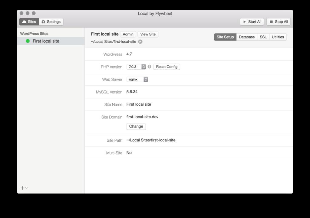 PHPやWebサーバなどの環境を管理する画面