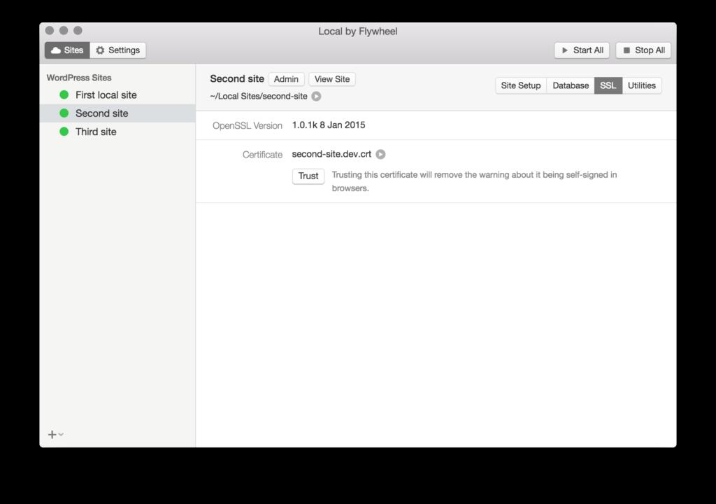 サイトを作ったら自動的にオレオレ証明書が発行される。Trustボタンをクリックしたらブラウザからの警告も出なくなる。