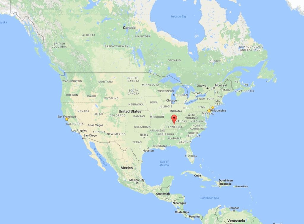 Nashvilleの位置。右上からも左下からも遠い。